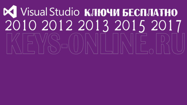 Ключ для Visual Studio 2017 2015 2013 2012 2010